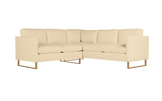 Goodland Small Sectional in Leather, Bronze Legs