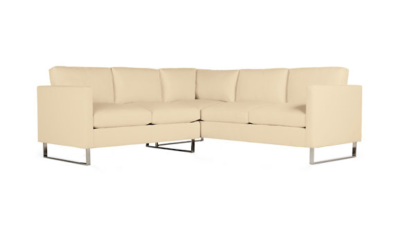 Goodland Small Sectional in Leather, Stainless Legs