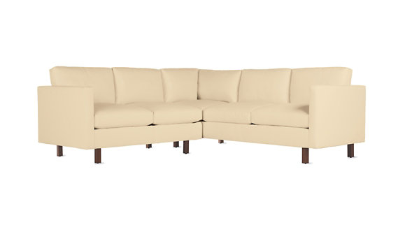 Goodland Small Sectional in Leather, Walnut Legs