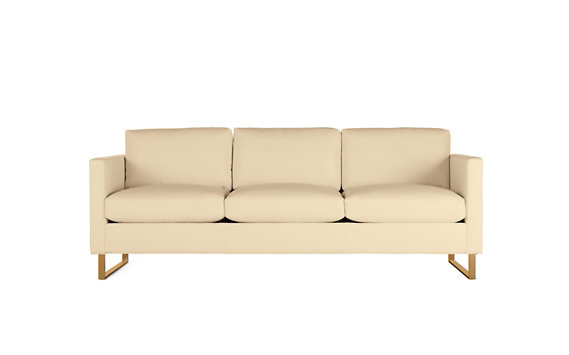 Goodland Sofa in Leather, Bronze Legs