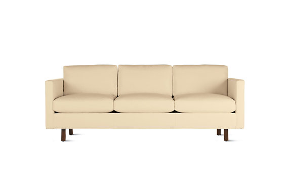 Goodland Sofa in Leather, Walnut Legs