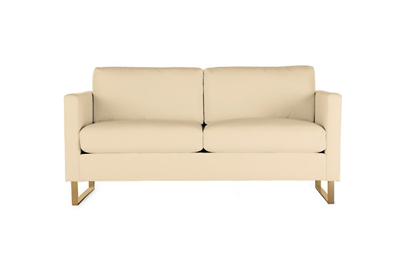 Goodland Two-Seater Sofa in Leather, Bronze Legs