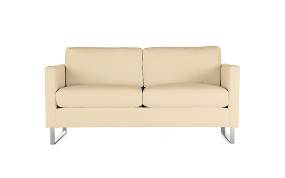 Goodland Two-Seater Sofa in Leather, Stainless Legs