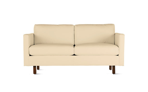 Goodland Two-Seater Sofa in Leather, Walnut Legs