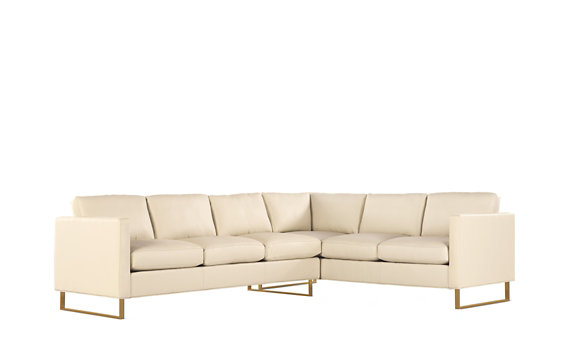 Goodland Large Sectional in Leather, Left, Bronze Legs