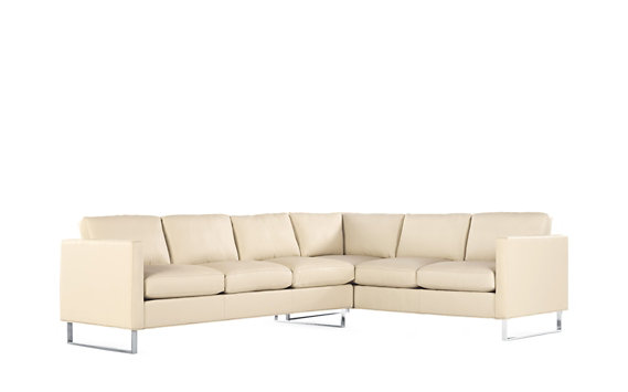 Goodland Large Sectional in Leather, Left, Stainless Legs