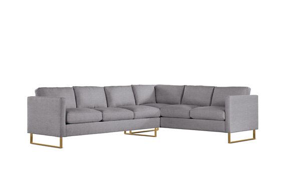 Goodland Large Sectional, Left, Basket Weave, Bronze Legs