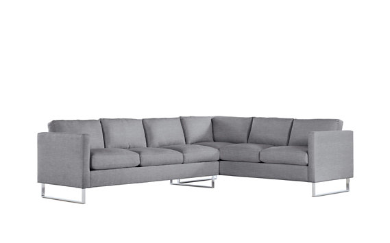 Goodland Large Sectional, Left, Basket Weave, Stainless Legs
