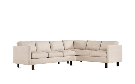 Goodland Large Sectional, Left, Basket Weave, Walnut Legs