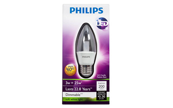 Philips 3W (25W) B12/E26 LED Light Bulb</span>