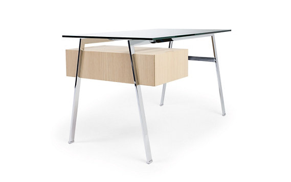 Homework Desk, Left Drawer with Natural Wood Veneer, Powder-Coated Legs