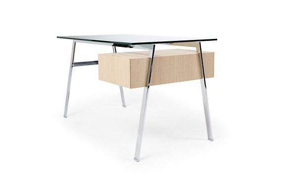 Homework desk right drawer with natural wood veneer for Design within reach desk