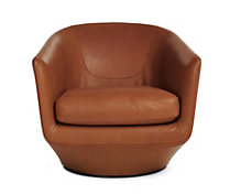 U-Turn Swivel Chair, Acquario Leather