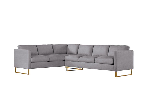 Goodland Large Sectional, Right, Basket Weave, Bronze Legs