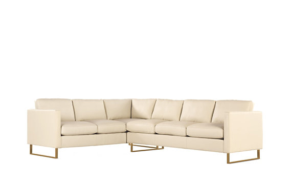 Goodland Large Sectional in Leather, Right, Bronze Legs