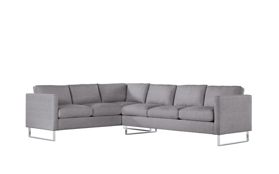 Goodland Large Sectional, Right, Basket Weave, Stainless Legs