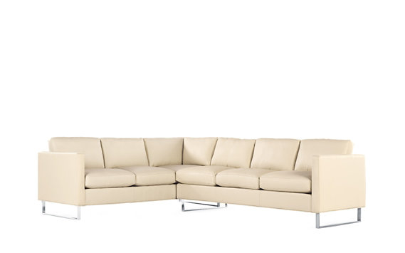 Goodland Large Sectional in Leather, Right, Stainless Legs