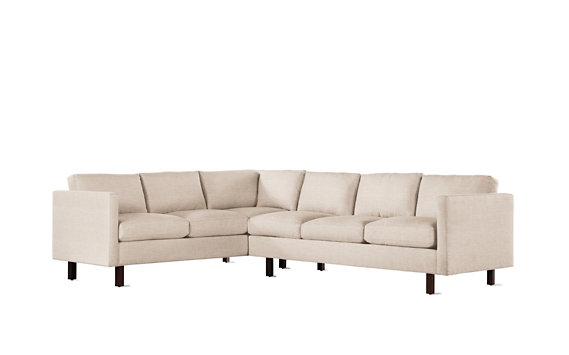 Goodland Large Sectional, Right, Basket Weave, Walnut Legs