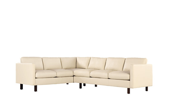 Goodland Large Sectional in Leather, Right, Walnut Legs