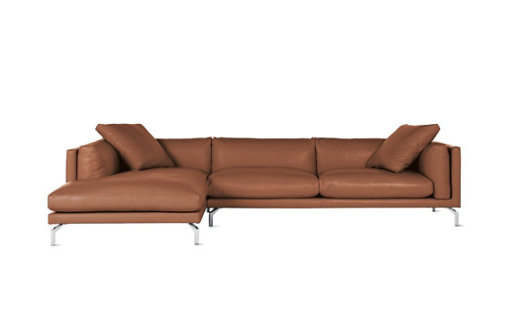 Como Sectional Chaise in Leather, Left
