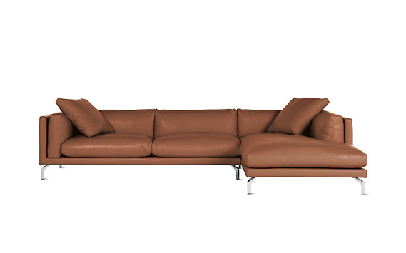 Como Sectional Chaise in Leather, Right