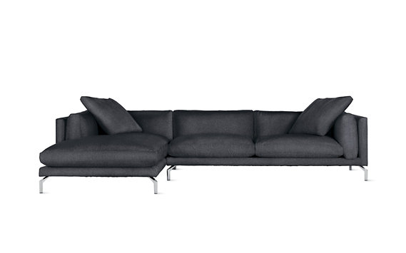 Como Sectional Chaise, Left, Lama Tweed