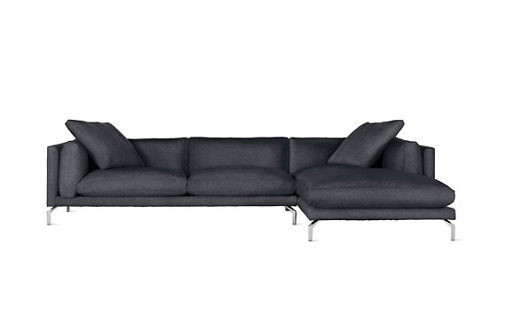 Como Sectional Chaise, Right, Lama Tweed