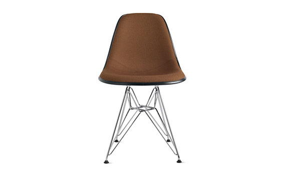 Eames® Upholstered Molded Fiberglass Wire-Base Side Chair (DFSR), Chrome