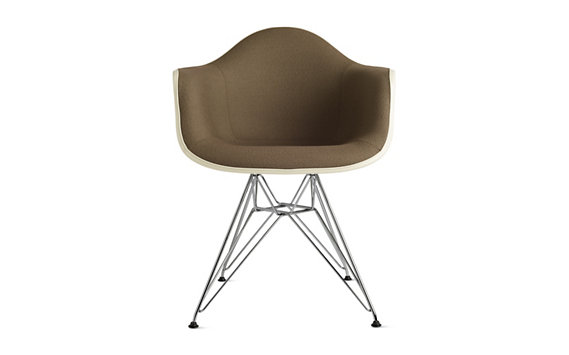 Eames® Upholstered Molded Fiberglass Wire-Base Armchair (DFAR), Chrome