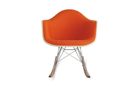 Eames® Upholstered Molded Fiberglass Rocker (RFAR), Walnut