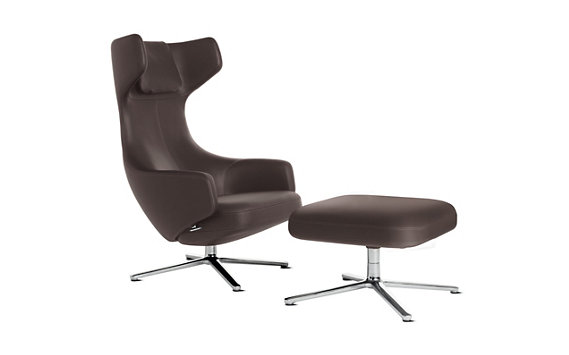 Grand Repos Lounge Chair and Ottoman in Leather