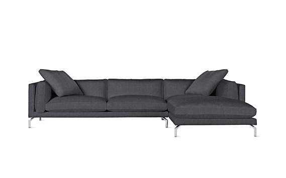 Como Sectional Chaise, Right, Pebble Weave