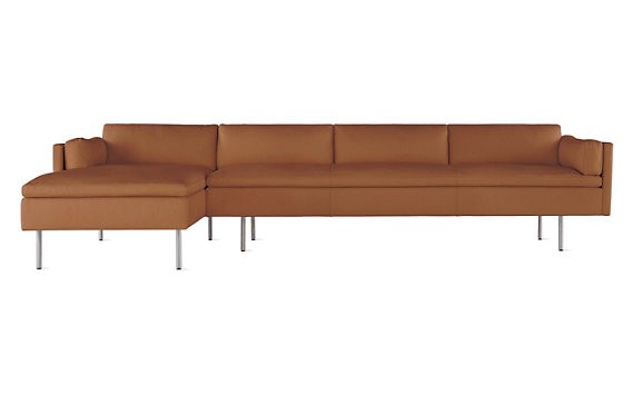 Bolster Sectional Chaise Left In Leather Design Within