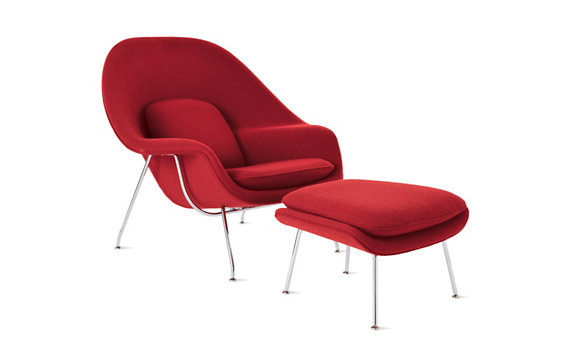 Womb™ Chair in Boucle Classic Fabric, Chrome Frame