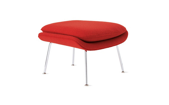 Womb™ Ottoman in Classic Boucle Fabric, Chrome Frame