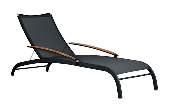 "Lucca  ""3 Series"" Chaise with Teak Arms"