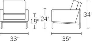 H 34 W 33 D 35 Arm H 24 Seat H 18 Seat D 21